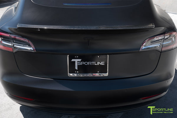 Satin Black Tesla Model 3 with Gloss Carbon Fiber Trunk Wing Spoiler by T Sportline 4