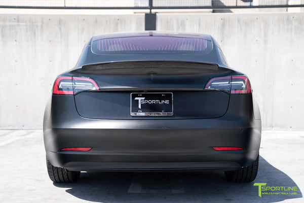 Satin Black Tesla Model 3 with Gloss Carbon Fiber Trunk Wing Spoiler by T Sportline 2