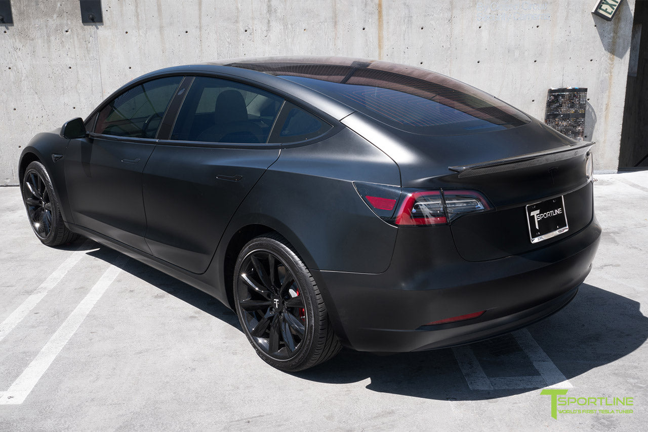 Satin Black Tesla Model 3 with Gloss Carbon Fiber Trunk Wing Spoiler by T Sportline