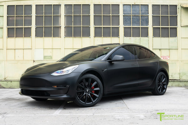 Satin Black Tesla Model 3 with Satin Black Chrome Delete, Window Tint, Matte Black 19 inch Turbine Style TST Wheels, and Lug Nut Cover by T Sportline 8