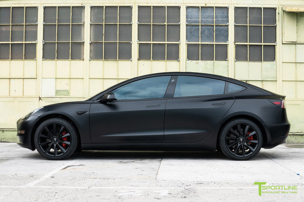 Satin Black Tesla Model 3 with Satin Black Chrome Delete, Window Tint, Matte Black 19 inch Turbine Style TST Wheels, and Lug Nut Cover by T Sportline 7