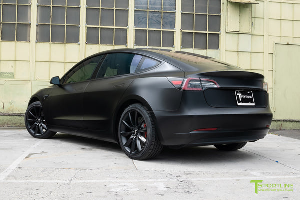 Satin Black Tesla Model 3 with Satin Black Chrome Delete, Window Tint, Matte Black 19 inch Turbine Style TST Wheels, and Lug Nut Cover by T Sportline 6