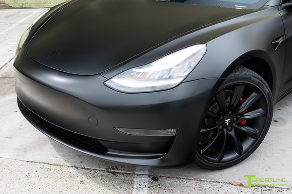 Satin Black Tesla Model 3 with Satin Black Chrome Delete, Window Tint, Matte Black 19 inch Turbine Style TST Wheels, and Lug Nut Cover by T Sportline 5