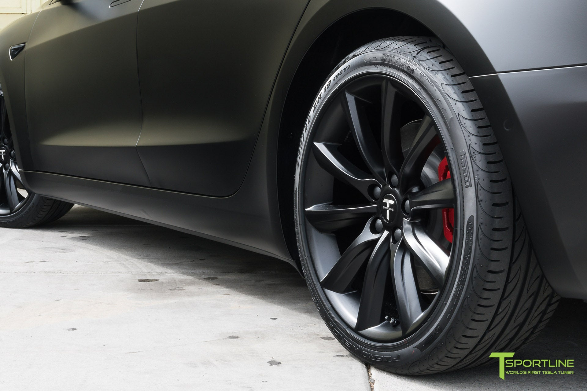 Satin Black Tesla Model 3 with Satin Black Chrome Delete, Window Tint, Matte Black 19 inch Turbine Style TST Wheels, and Lug Nut Cover by T Sportline 4