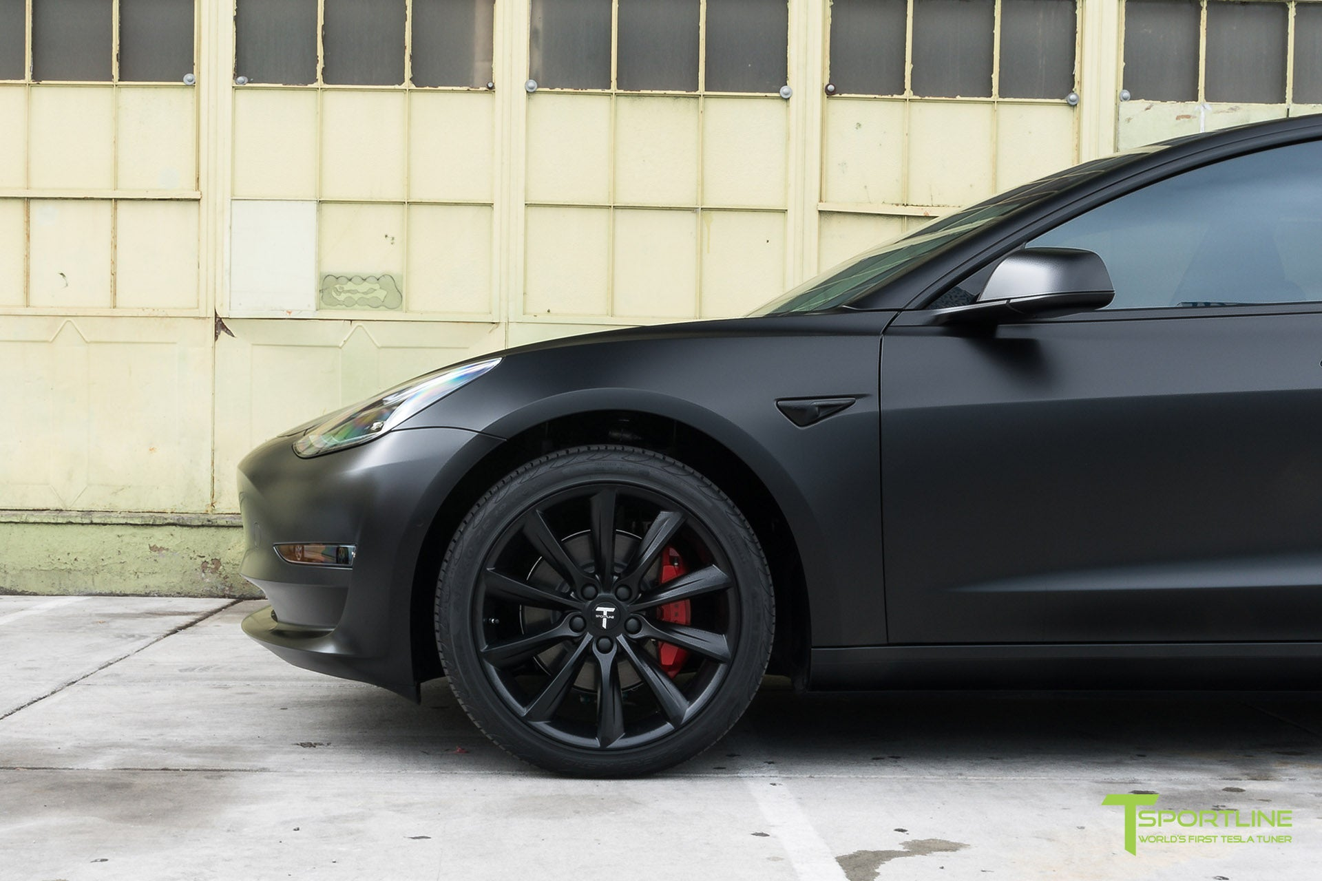 Satin Black Tesla Model 3 with Satin Black Chrome Delete, Window Tint, Matte Black 19 inch Turbine Style TST Wheels, and Lug Nut Cover by T Sportline 2