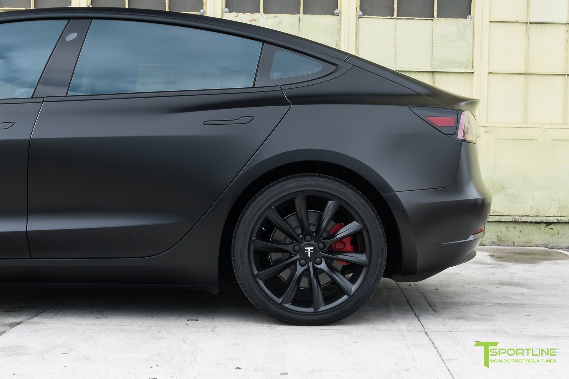 Satin Black Tesla Model 3 with Satin Black Chrome Delete, Window Tint, Matte Black 19 inch Turbine Style TST Wheels, and Lug Nut Cover by T Sportline 1
