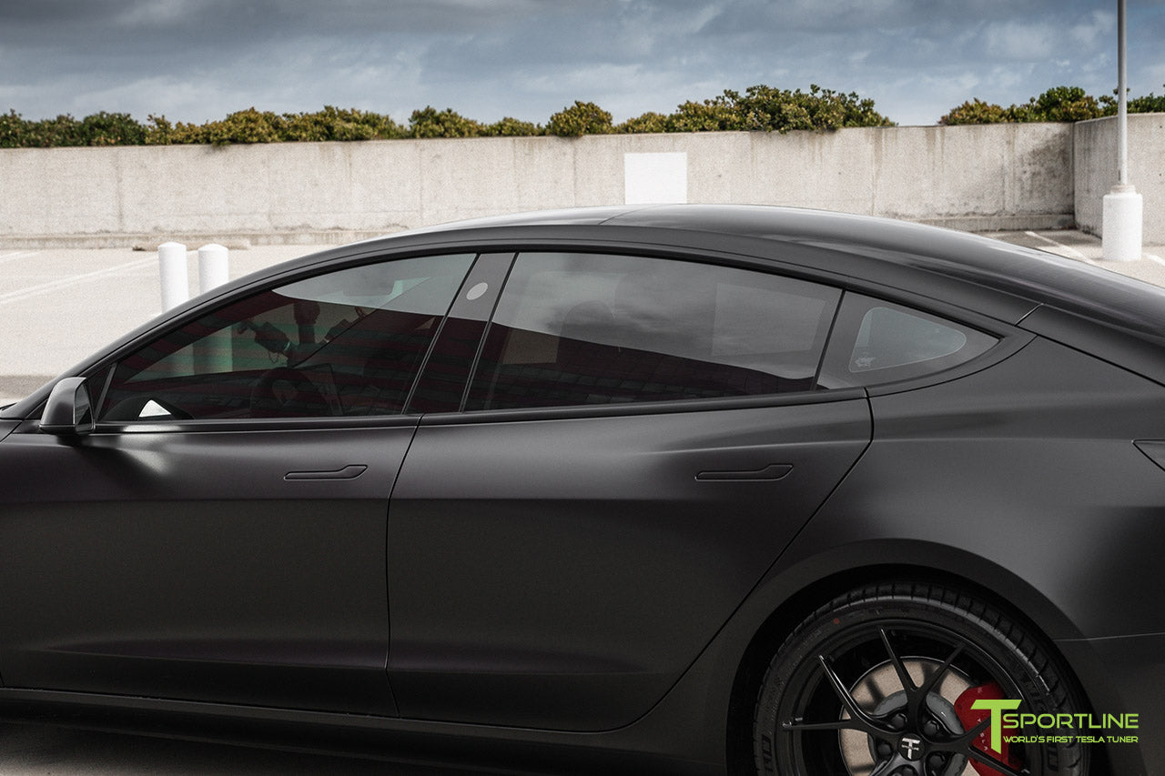 Satin Black Performance Tesla Model 3 with Matte Black 20 inch M3115 Forged Wheels by T Sportline 1