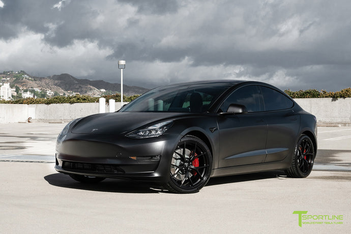 "All Satin Black Performance Model 3 with 20"" M3115"