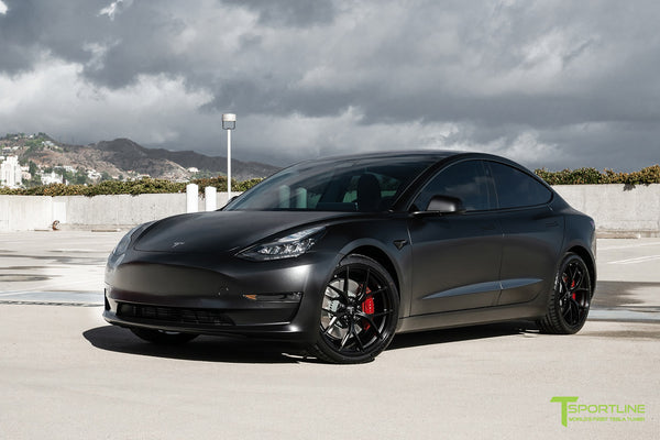Satin Black Performance Tesla Model 3 with Matte Black 20 inch M3115 Forged Wheels by T Sportline 9