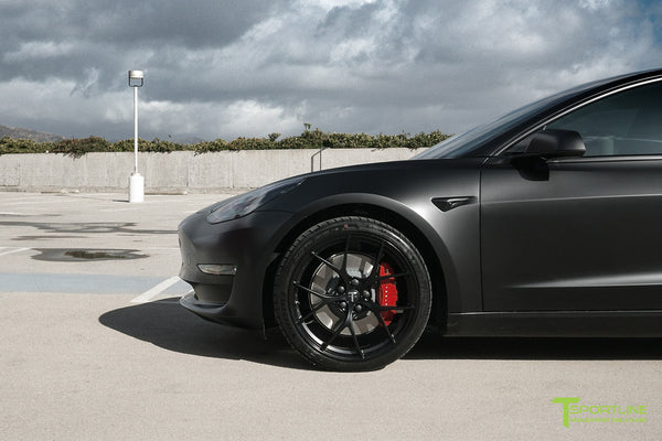 Satin Black Performance Tesla Model 3 with Matte Black 20 inch M3115 Forged Wheels by T Sportline 6