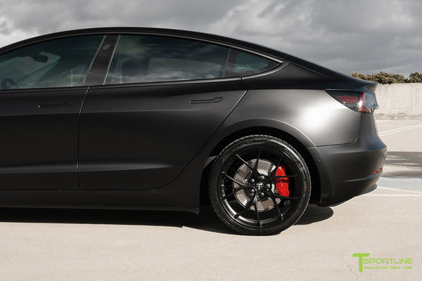Satin Black Performance Tesla Model 3 with Matte Black 20 inch M3115 Forged Wheels by T Sportline 5