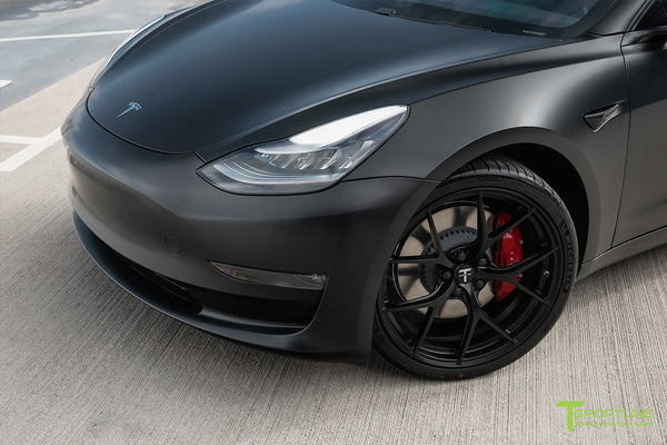Satin Black Performance Tesla Model 3 with Matte Black 20 inch M3115 Forged Wheels by T Sportline 4