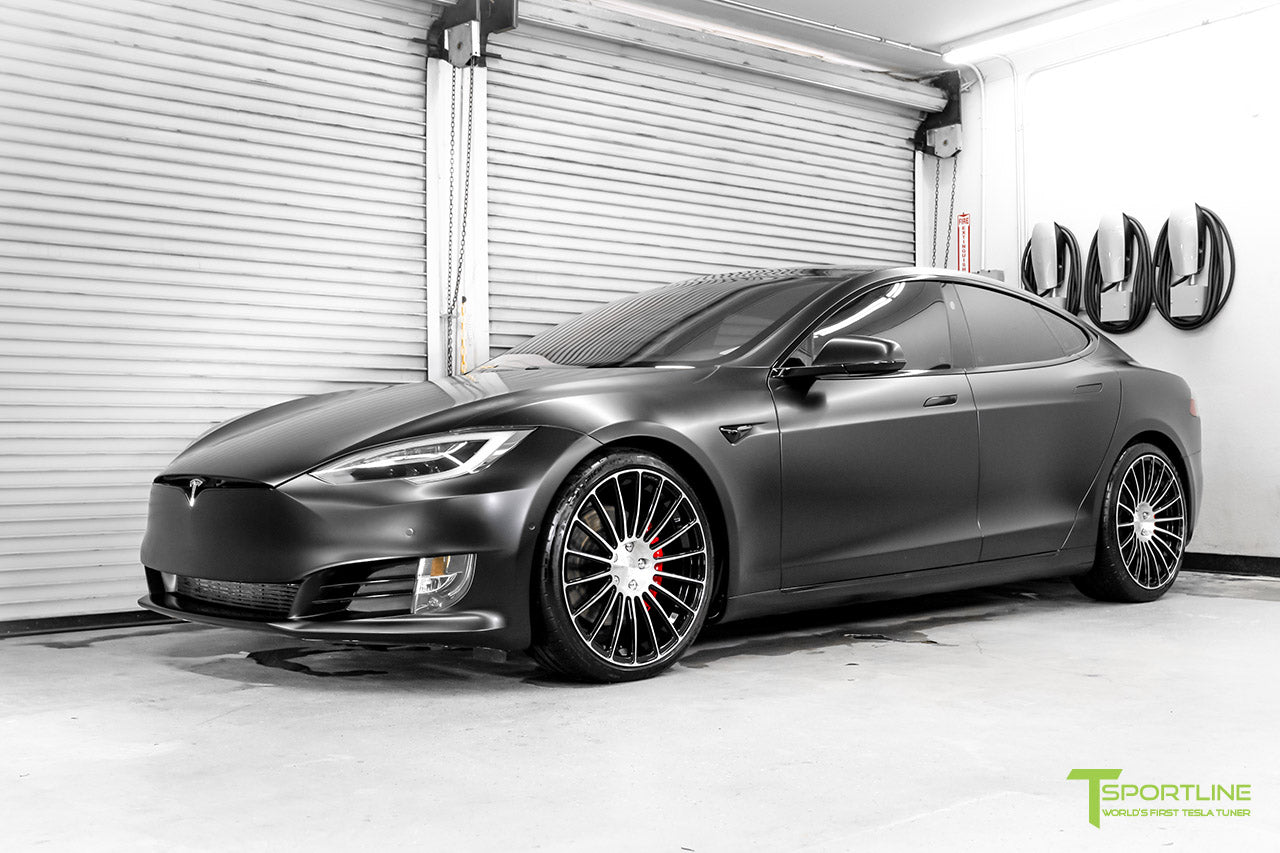 Satin Black Tesla Model S P100D Performance with Ludicrous Mode Custom Bentley Linen Leather Interior