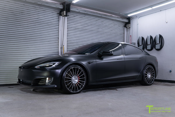Project McCann Satin Black 2019 Tesla Model S P100D Ludicrous with 21 inch TS118 Forged Wheels in Diamond Black by T Sportline 7