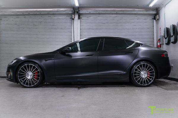 Project McCann Satin Black 2019 Tesla Model S P100D Ludicrous with 21 inch TS118 Forged Wheels in Diamond Black by T Sportline 6