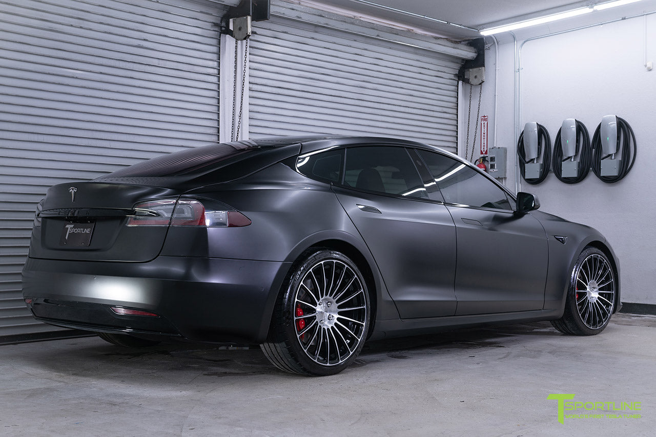 Project McCann Satin Black 2019 Tesla Model S P100D Ludicrous with 21 inch TS118 Forged Wheels in Diamond Black by T Sportline 5