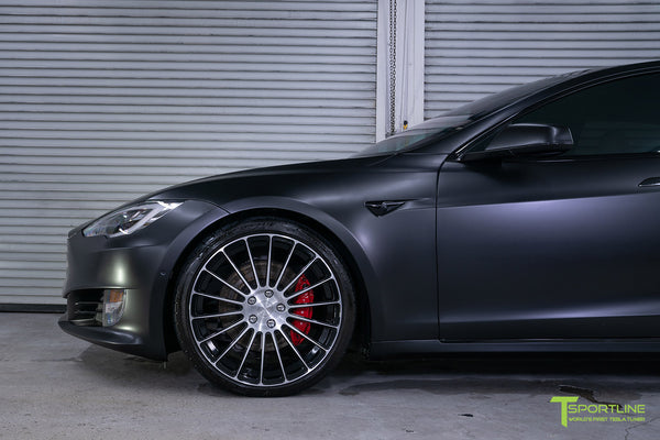 Project McCann Satin Black 2019 Tesla Model S P100D Ludicrous with 21 inch TS118 Forged Wheels in Diamond Black by T Sportline 4