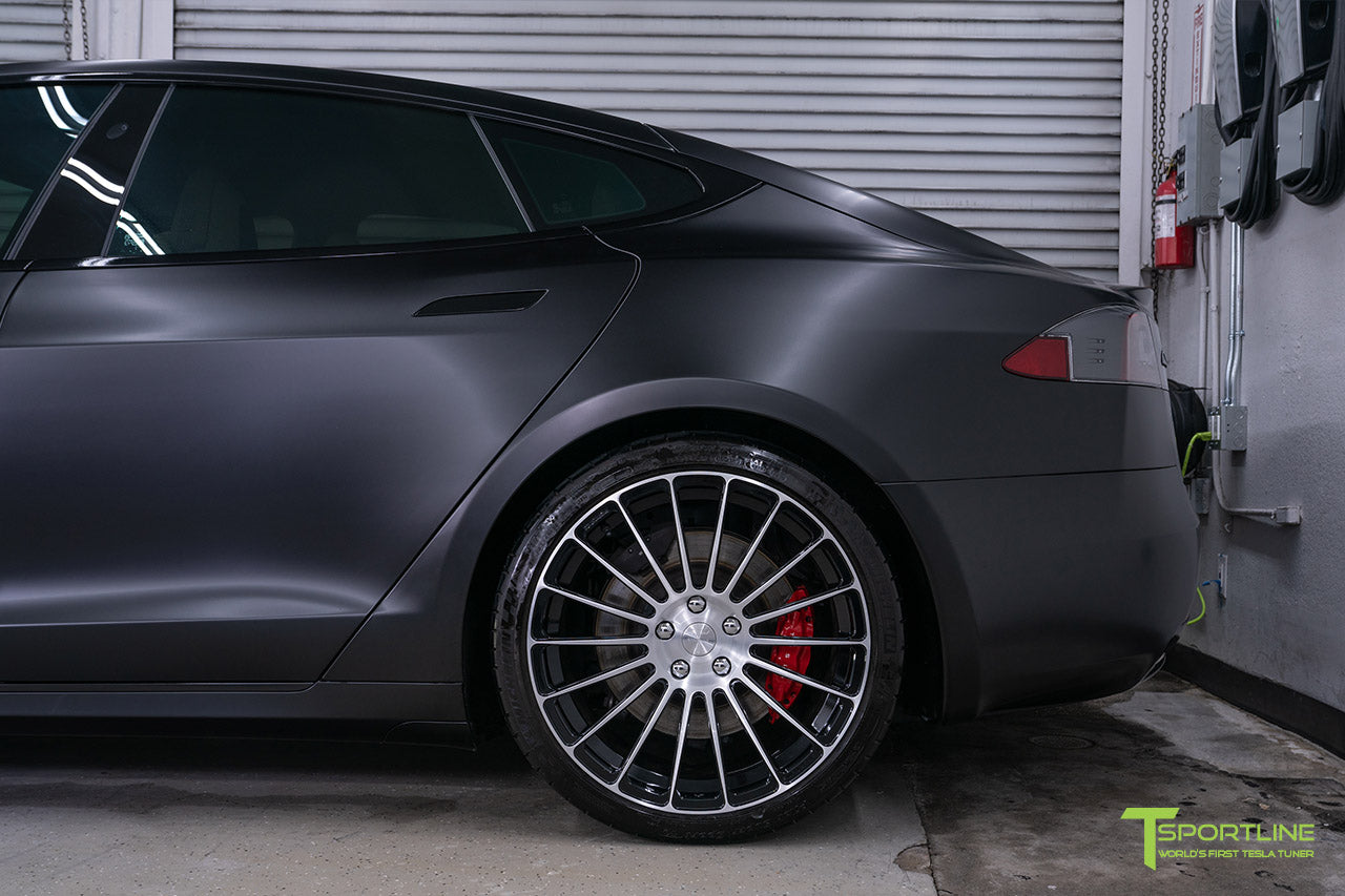 Project McCann Satin Black 2019 Tesla Model S P100D Ludicrous with 21 inch TS118 Forged Wheels in Diamond Black by T Sportline 3