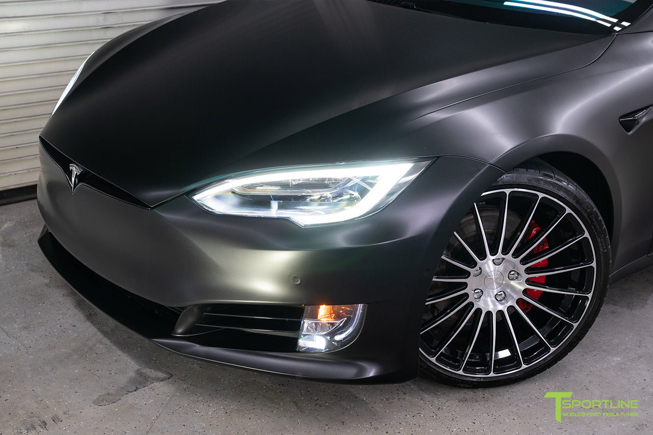 Project McCann Satin Black 2019 Tesla Model S P100D Ludicrous with 21 inch TS118 Forged Wheels in Diamond Black by T Sportline 2