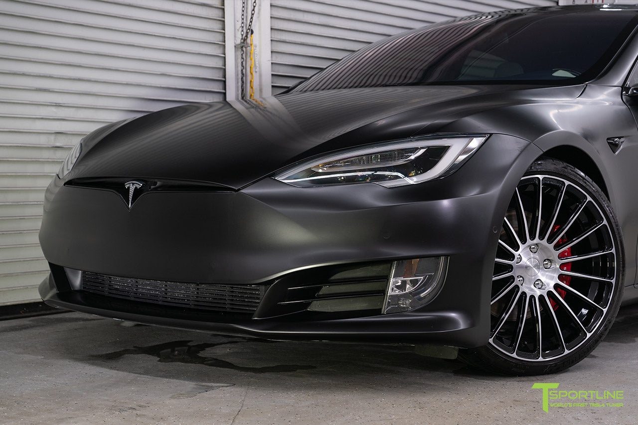 Project McCann Satin Black 2019 Tesla Model S P100D Ludicrous with 21 inch TS118 Forged Wheels in Diamond Black by T Sportline 1