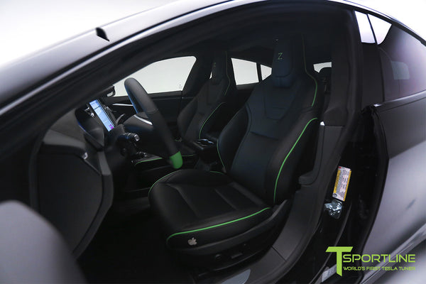 Project Z - Tesla Model S P90D - Black Interior with Green Accents 6