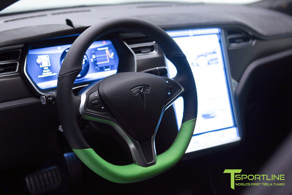 Project Z - Tesla Model S P90D - Black Interior with Green Accents 5