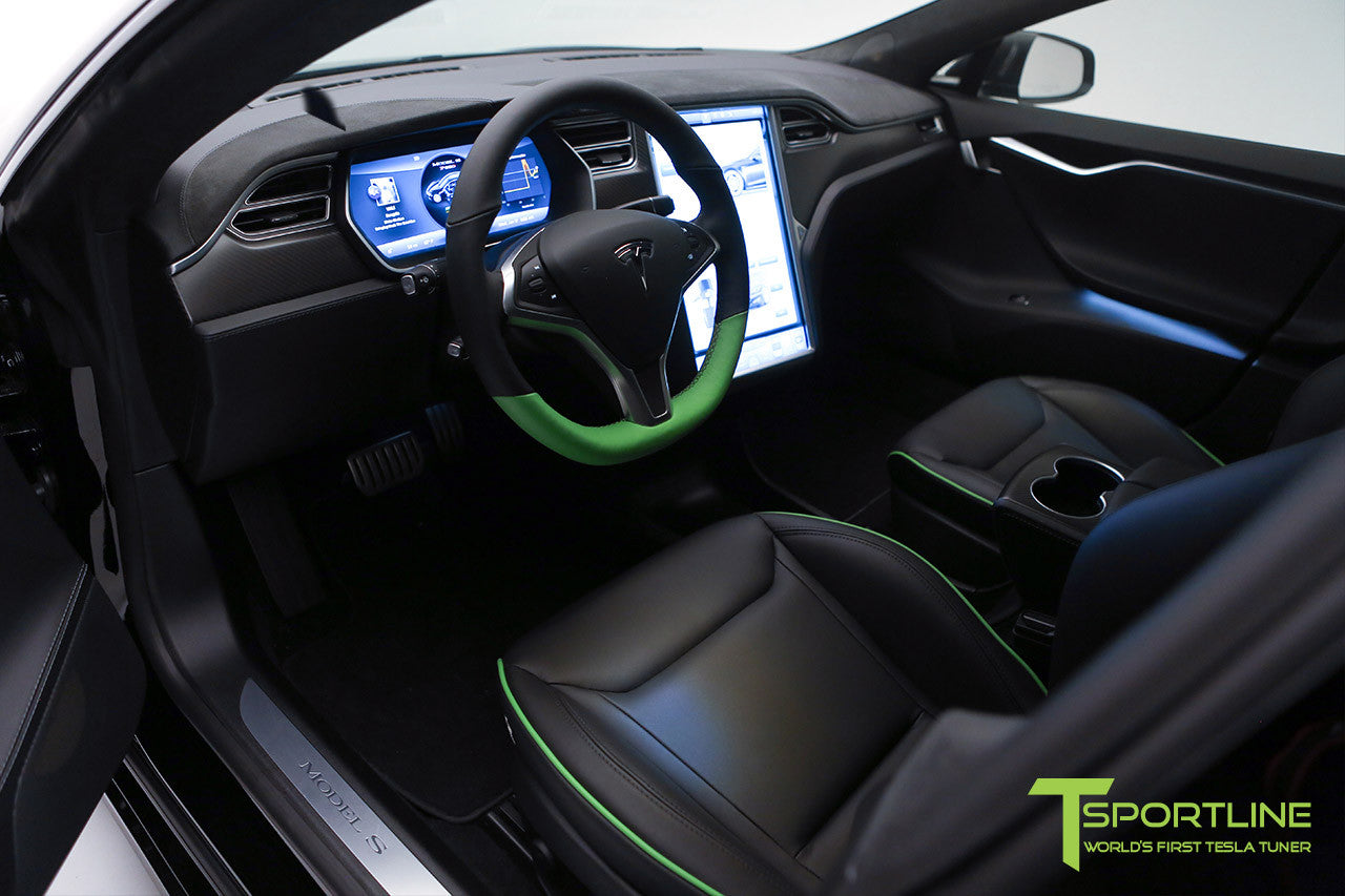 Project Z - Tesla Model S P90D - Black Interior with Green Accents 4