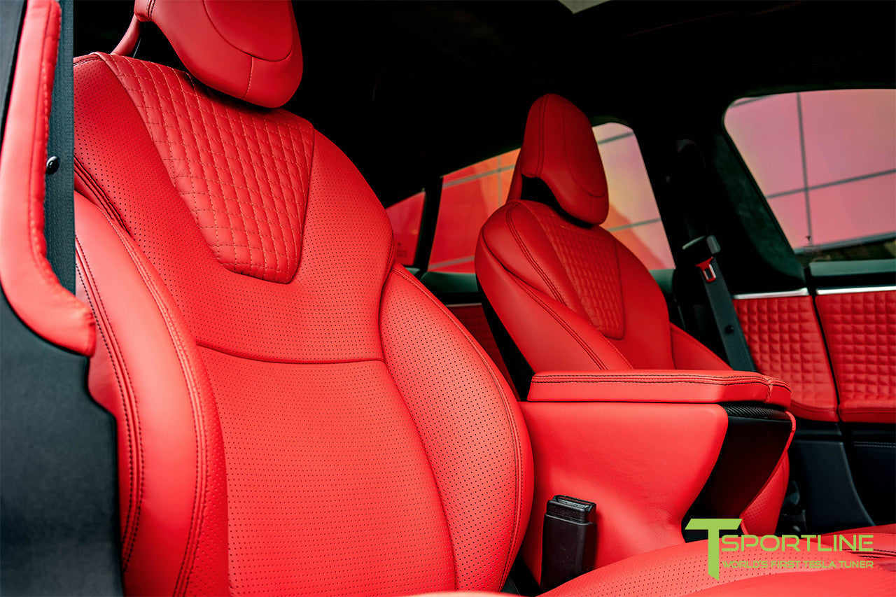 Project Toothless - Model S (2016 Facelift) - Custom Ferrari Rosso Interior - Matte Carbon Fiber Steering Wheel by T Sportline