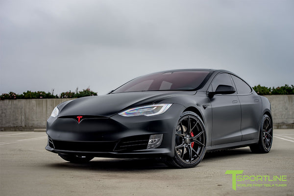 Satin Black Tesla Model S 2.0 with Gloss Black 21 inch TS115 Forged Wheels 1