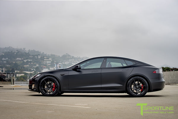 Satin Black Tesla Model S 2.0 with Gloss Black 21 inch TS115 Forged Wheels 2