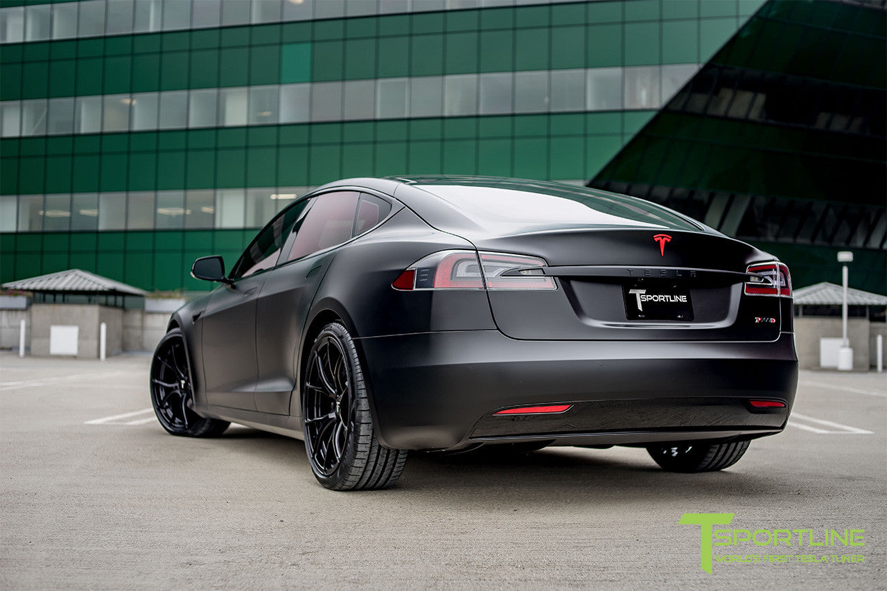 Satin Black Tesla Model S 2.0 with Gloss Black 21 inch TS115 Forged Wheels