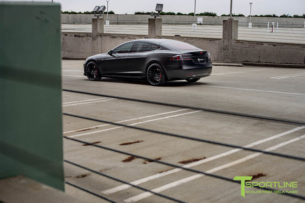 Satin Black Tesla Model S 2.0 with Matte Black 21 inch TS118 Forged Wheels 2