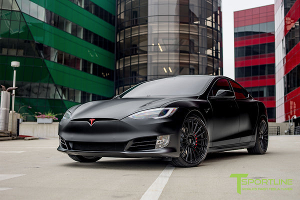 Satin Black Tesla Model S 2.0 with Matte Black 21 inch TS118 Forged Wheels 3
