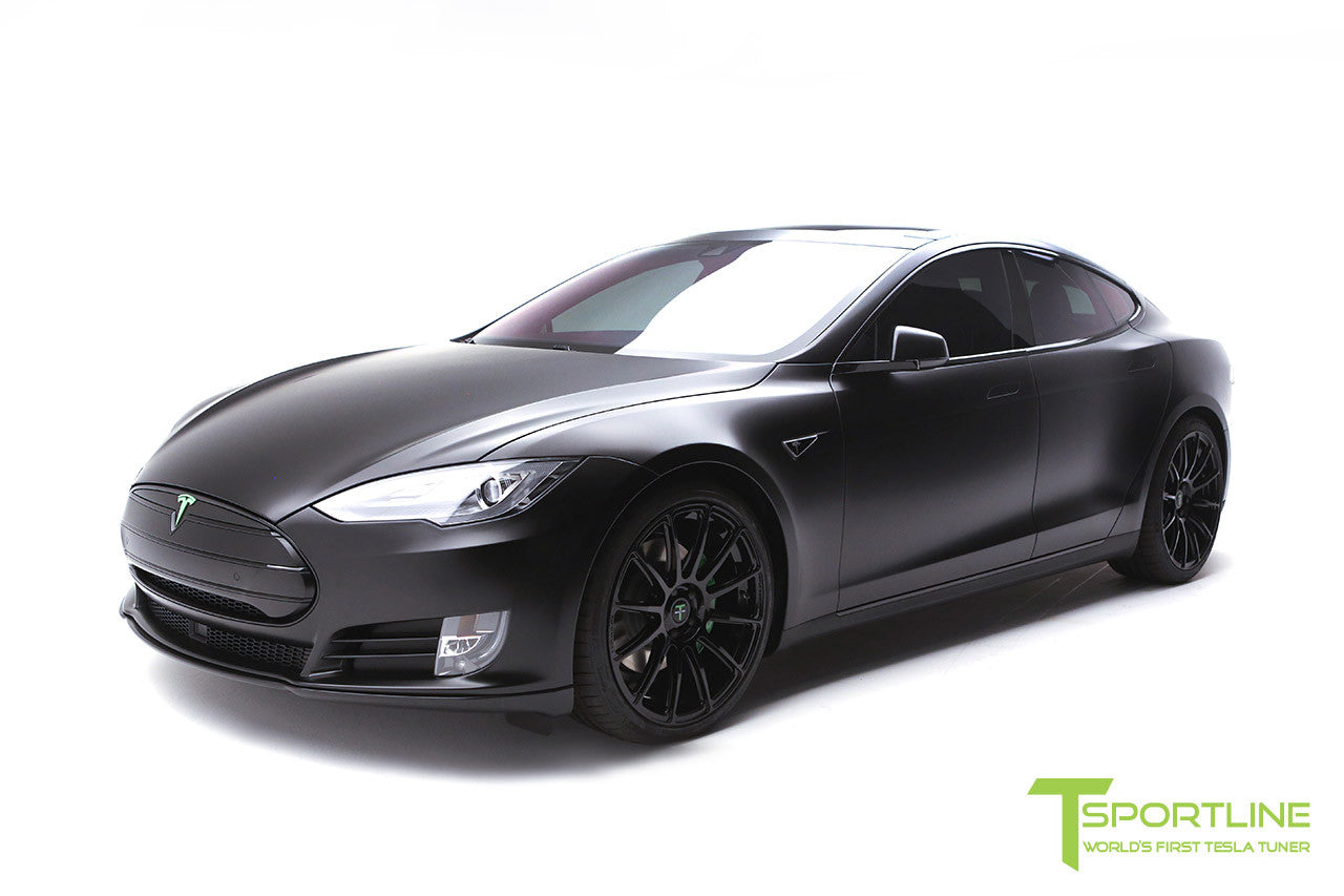 Project Z - Tesla Model S P90D - Black Interior with Green Accents - Gloss Black TS112 21 inch Forged Wheels 4