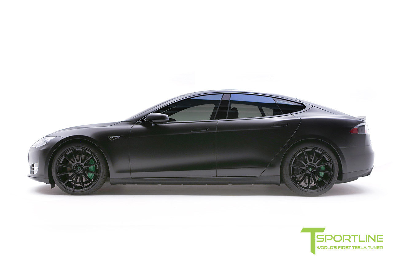 Project Z - Tesla Model S P90D - Black Interior with Green Accents - Gloss Black TS112 21 inch Forged Wheels 3
