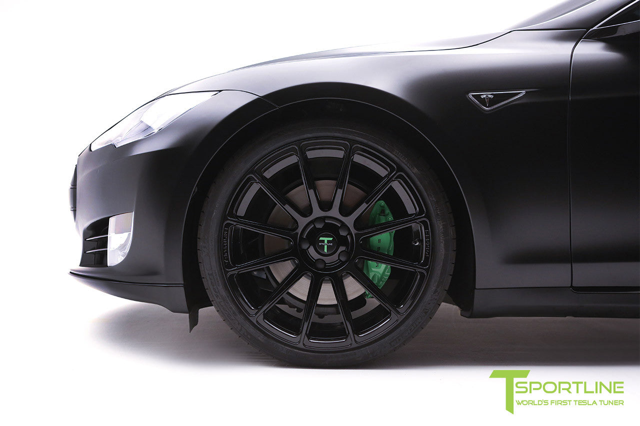 Project Z - Tesla Model S P90D - Black Interior with Green Accents - Gloss Black TS112 21 inch Forged Wheels 2
