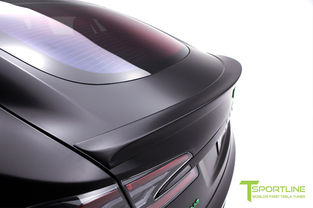 Project Z - Tesla Model S P90D - Black Interior with Green Accents - Gloss Black TS112 21 inch Forged Wheels - Carbon Fiber Trunk Wing 1
