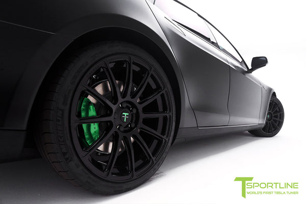 Project Z - Tesla Model S P90D - Black Interior with Green Accents - Gloss Black TS112 21 inch Forged Wheels
