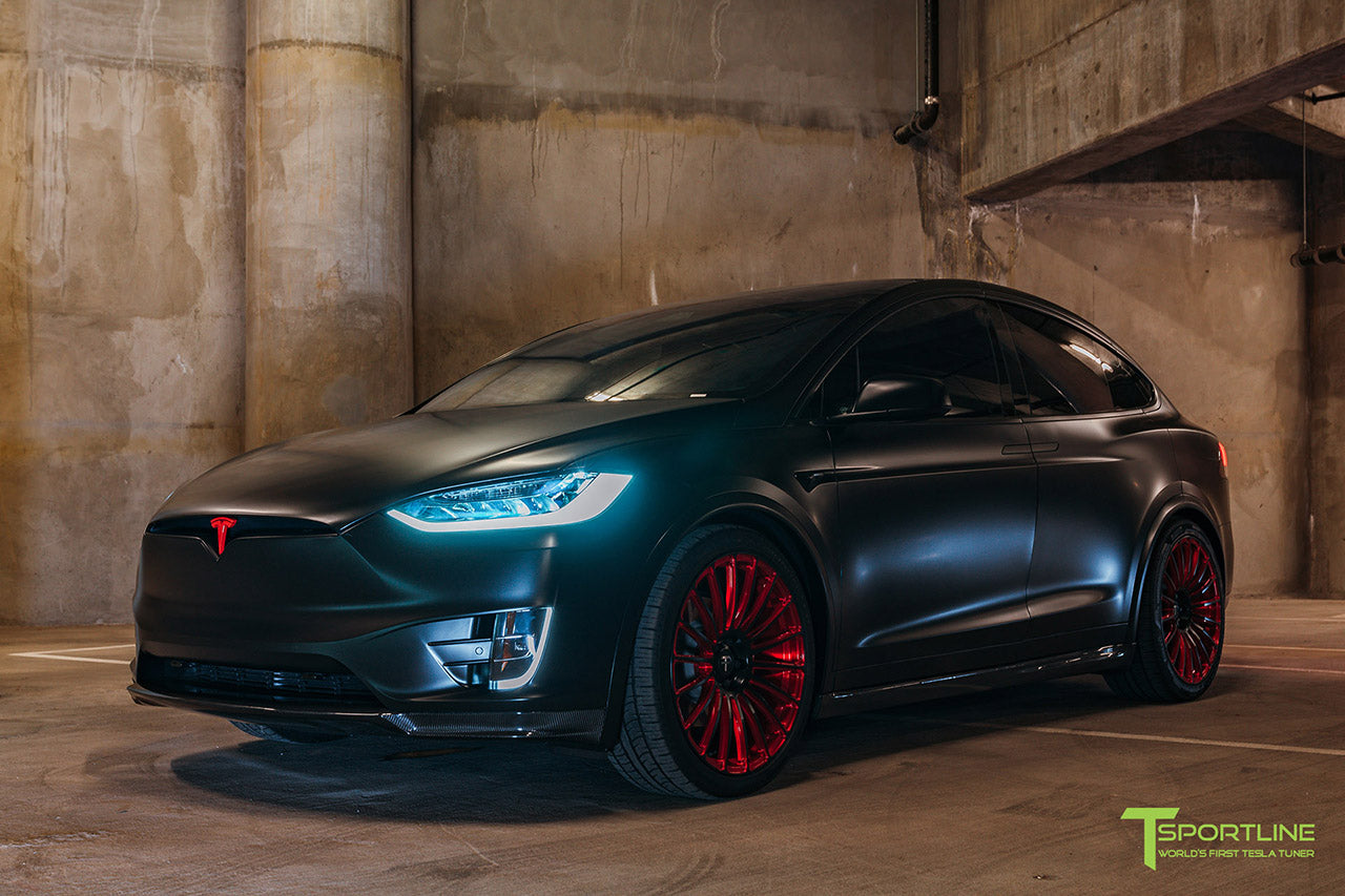 Satin Black Tesla Model X with Imperial Red MX118 22 inch Forged Tesla Wheels by T Sportline