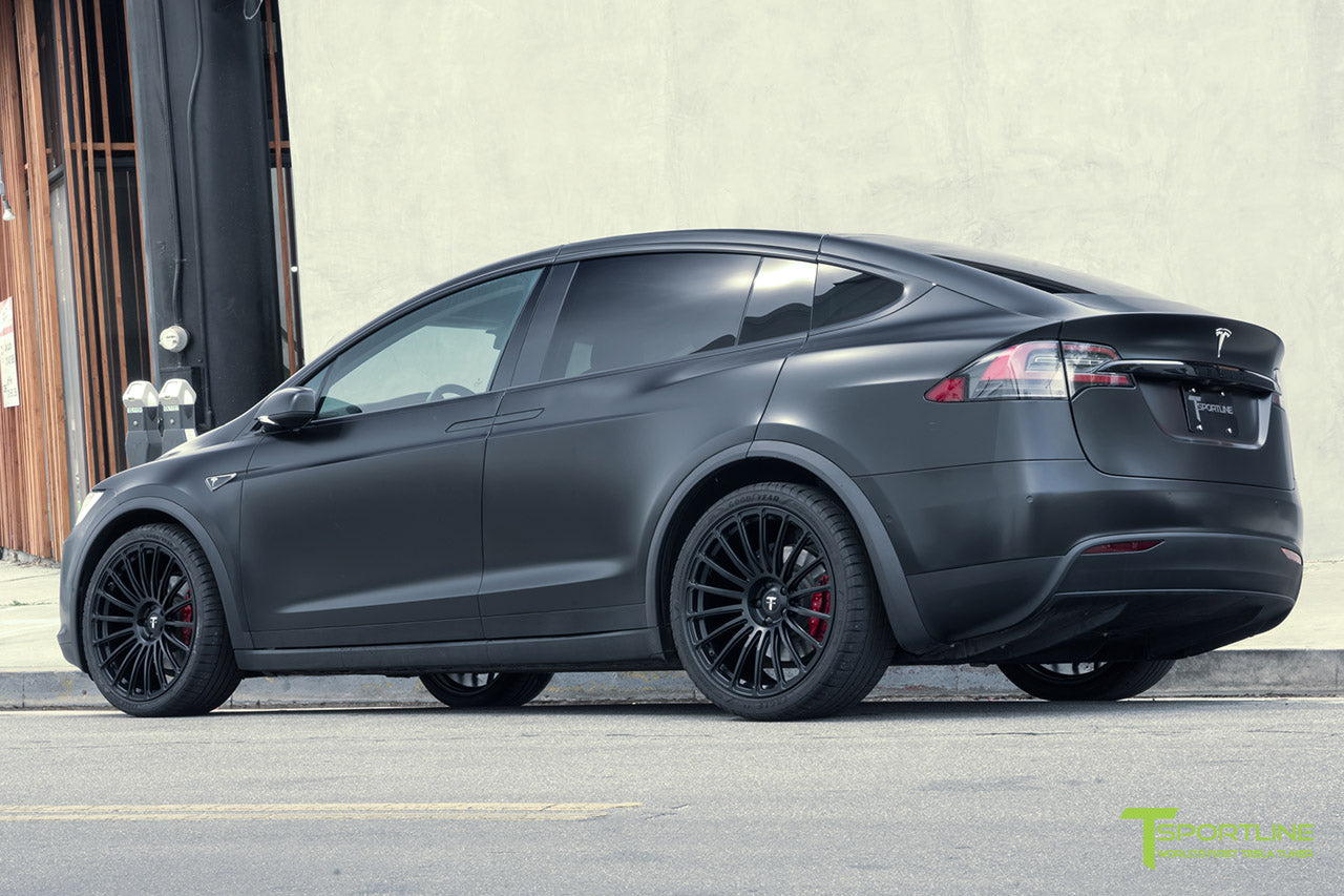 Satin Black Tesla Model X with Matte Black MX118 22 inch Forged Tesla Wheels by T Sportline