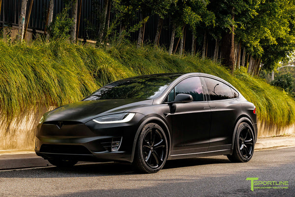 Satin Black Tesla Model X wrapped in 3M with Gloss Black 22 inch MX5 Forged Wheels and Lug Nut Cover Caps by T Sportline 5