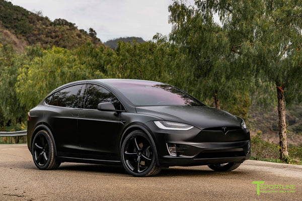 Satin Black Tesla Model X wrapped in 3M with Gloss Black 22 inch MX5 Forged Wheels and Lug Nut Cover Caps by T Sportline 4