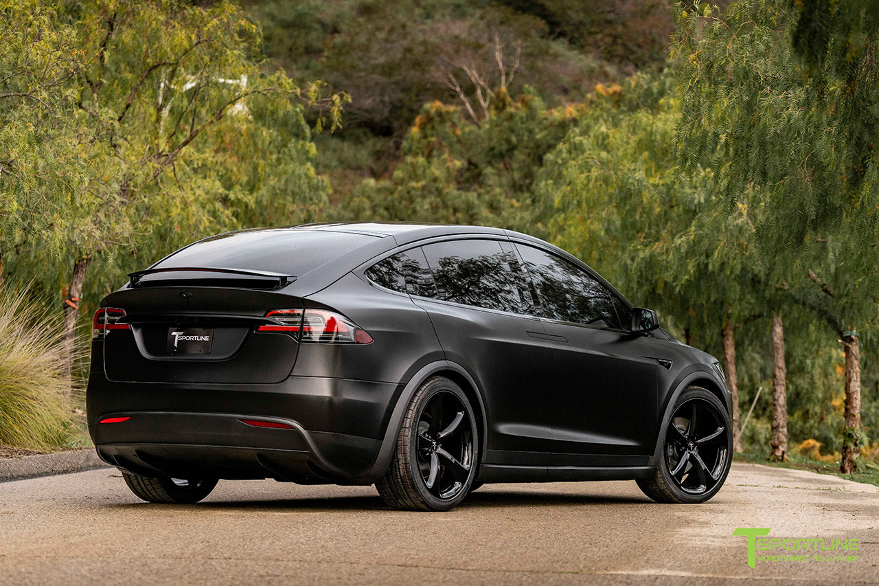 Satin Black Tesla Model X wrapped in 3M with Gloss Black 22 inch MX5 Forged Wheels and Lug Nut Cover Caps by T Sportline 2