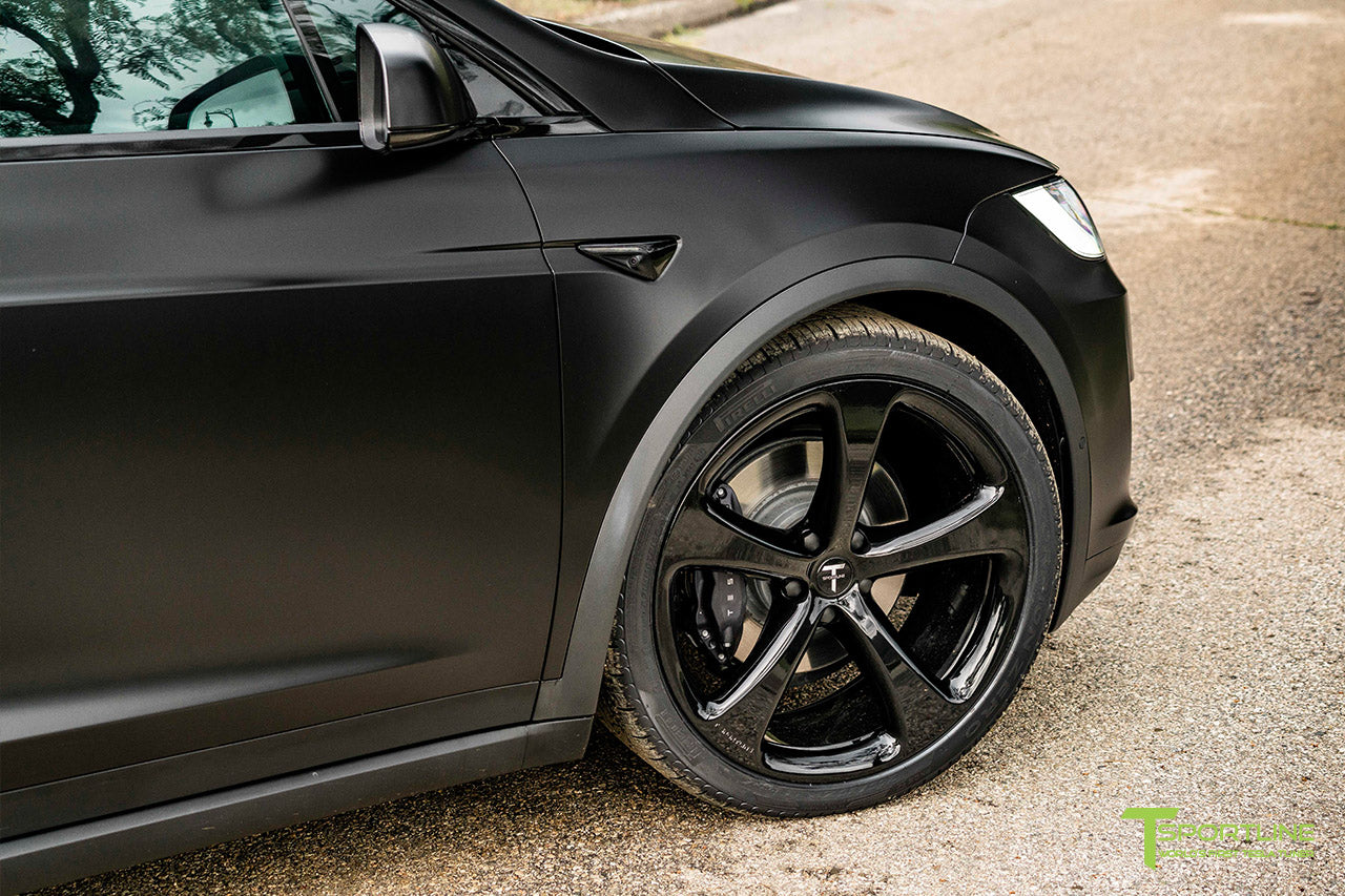 Satin Black Tesla Model X wrapped in 3M with Gloss Black 22 inch MX5 Forged Wheels and Lug Nut Cover Caps by T Sportline 1