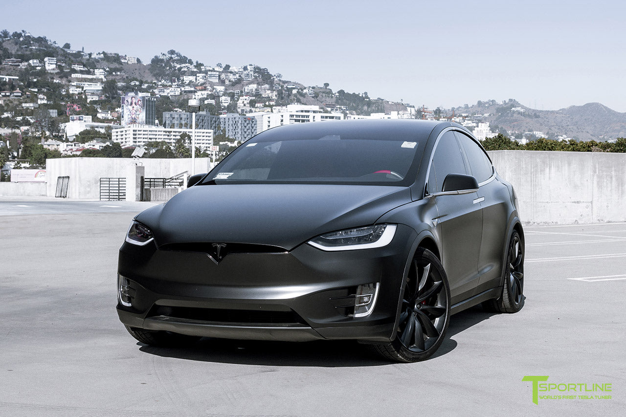 Project Little Dragon - Deep Blue Metallic Tesla Model X with Satin Black Full Body Warp, Custom Bentley Red Leather Interior, Matte Carbon Fiber Seatback, and Matte Carbon Fiber Steering Wheel by T Sportline 14