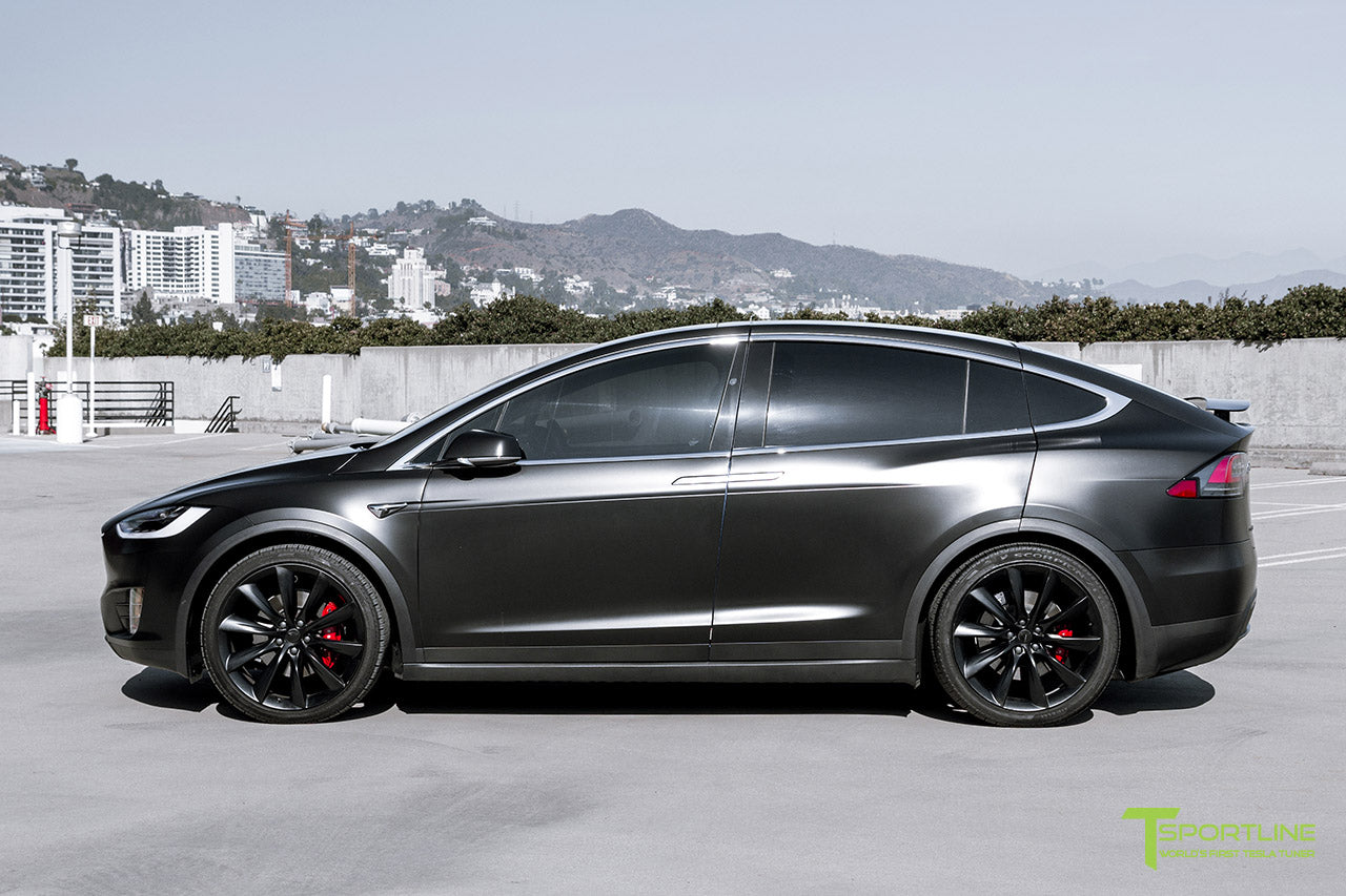 Project Little Dragon - Deep Blue Metallic Tesla Model X with Satin Black Full Body Warp, Custom Bentley Red Leather Interior, Matte Carbon Fiber Seatback, and Matte Carbon Fiber Steering Wheel by T Sportline 13