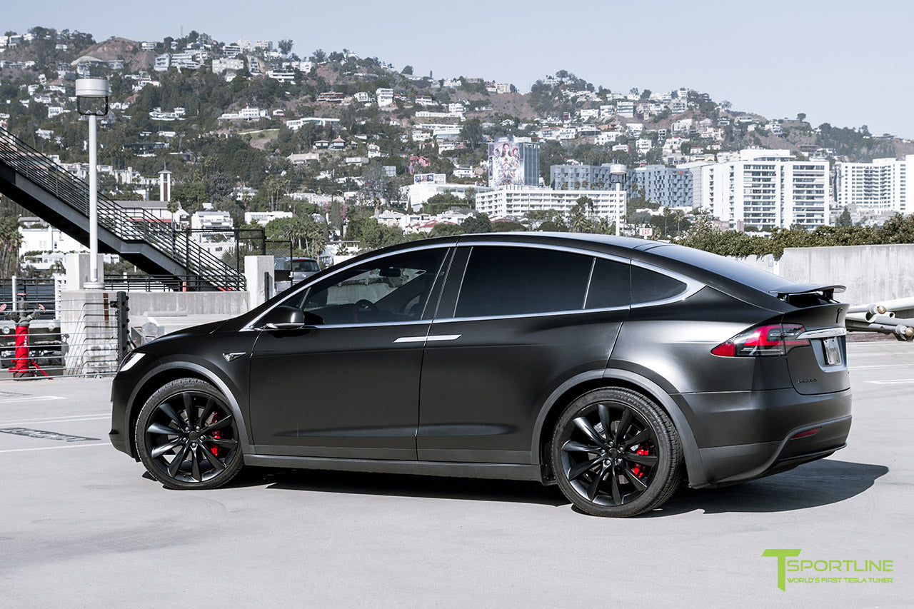 Project Little Dragon - Deep Blue Metallic Tesla Model X with Satin Black Full Body Warp, Custom Bentley Red Leather Interior, Matte Carbon Fiber Seatback, and Matte Carbon Fiber Steering Wheel by T Sportline 12
