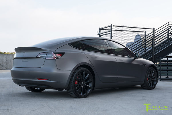 Satin Dark Gray Tesla Model 3 with Wrapped Carbon Fiber Trunk Wing Spoiler by T Sportline 5