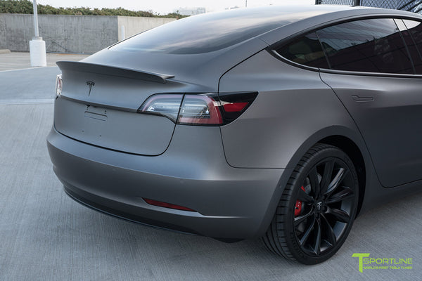 Satin Dark Gray Tesla Model 3 with Wrapped Carbon Fiber Trunk Wing Spoiler by T Sportline 3