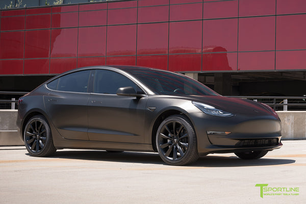 Satin Gold Dust Black Tesla Model 3 with Matte Black 19 inch Turbine Style TST Wheels by T Sportline 4
